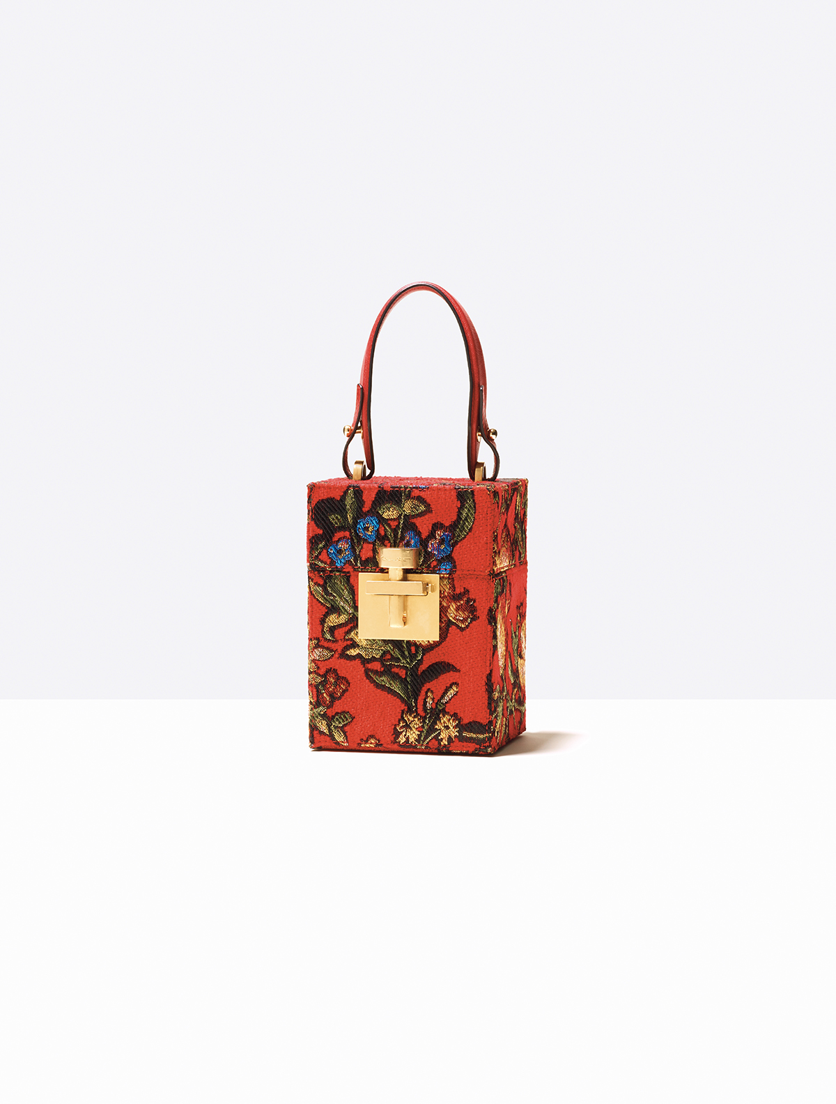 CRIMSON JACQUARD MINI ALIBI BAG