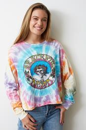 DAYDREAMER The Grateful Dead Skull and Roses Tie Dye Long Sleeve Crop Top