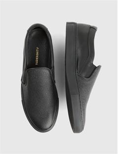 Mens Combo Leather Slip-on Sneakers Black