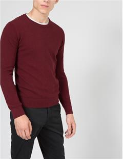 Mens Dexter Circle Structure Sweater Burgundy Mel