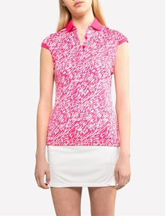 Womens Johanna Tech TX Jersey Polo Brush strokes pink