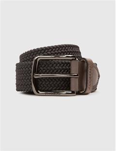 Mens Elastic Braid Belt Dark grey