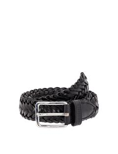 Mens Leather Braid Belt Black
