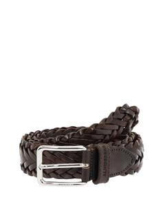 Mens Leather Braid Belt Dark Brown