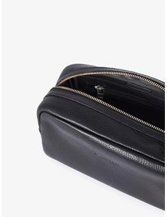 Mens Mix Leather Washbag Black