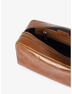Mens Mix Leather Washbag Midbrown