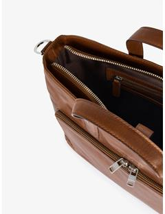 Mens Mix Leather Bag Midbrown