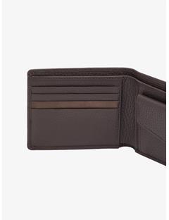 Mix Leather Wallet Dark Brown