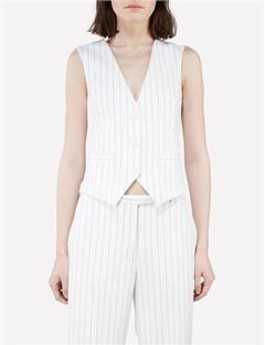 Fay Tux Fab Pinstripe Vest Off White