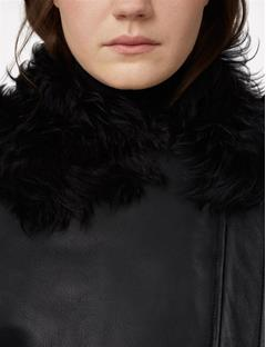 Val Shearling Biker Jacket Black