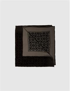 Square Print Scarf Black