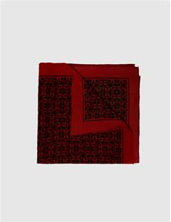 Square Print Scarf Red Deep