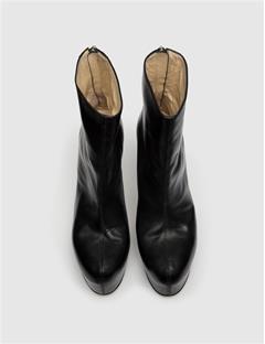 Womens Patent Snake Plateau Boot Black