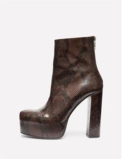 Womens Patent Snake Plateau Boot Brown Snake