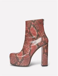Patent Snake Plateau Boot Dusty Rose Sanke