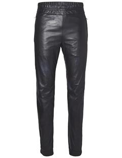 Mens Broken Leather Track Pant Black