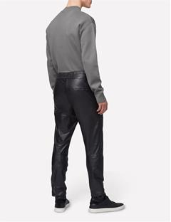 Broken Leather Track Pant Black