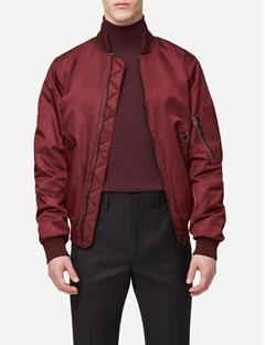 Mens Hill Muted Nylon Bomber Dusty Burgundy