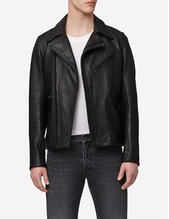 Mens Seal Clean Leather Biker Jacket Black