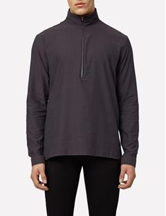 Mens David Crepe Cotton Zip Funnel Neck Shirt  Antrasit