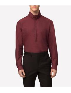 Mens David Crepe Cotton Zip Funnel Neck Shirt  Dusty Burgundy