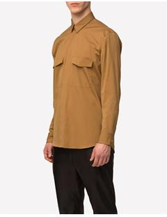 Mens David Tech Poplin Shirt Dk Mustard
