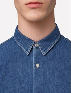 David Grain Denim Shirt Mid Blue