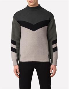 Mens Arrow Intarsia Sweater Green/Grey