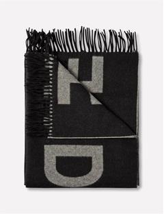 Frame Jaquard Wool Scarf White