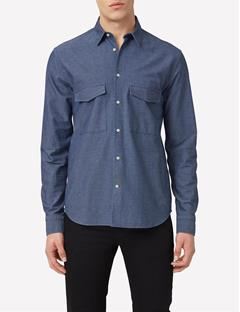 Mens David Mouline Denim Shirt Dusty Blue