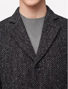 Mens Wolger Rock Wool Coat Black