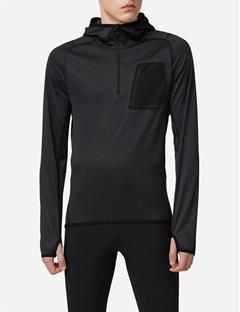 Elements Jersey Running Hoodie Black Melange