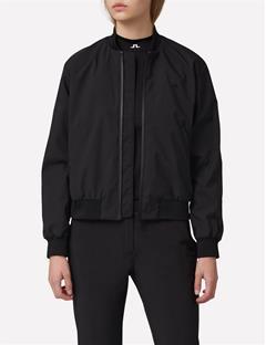 Womens Matte Nylon Bomber Jacket Black