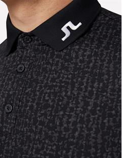 Mens Tour Tech Long Sleeve Slim TX Jersey Polo Black Wave Print