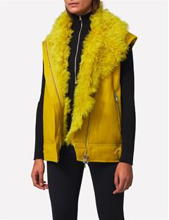 Womens Sayonara Biker Shearling Jacket Lemon
