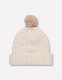 Fur Ball Wool Blend Hat White