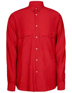 Mens David Cotton Button Up Shirt Cherry
