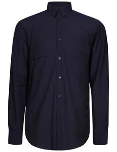 Mens David Cotton Button Up Shirt JL Navy