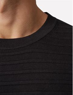 Mens Jude Structure Striped Sweater Black