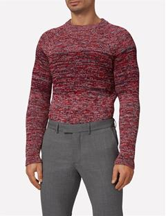 Mens Three Color Marled Sweater Cherry