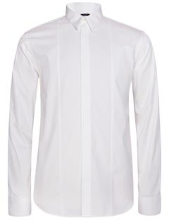 Mens David Tux Plisse Shirt White