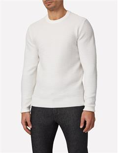 Mens Lexter Structure Knit Sweater Off White