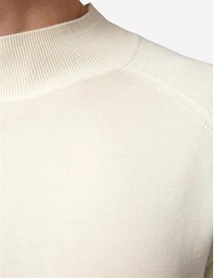 Mens File Silk Merino Half T-Neck Off White