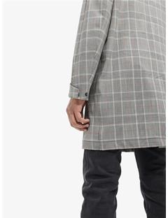Mens Cage Bonded Checked Car Coat Stone Grey