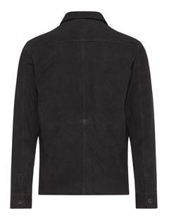 Mens Jonah Flat Suede Zip Overshirt Black
