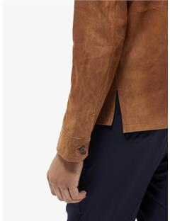 Mens Jonah Flat Suede Zip Overshirt Glazed Ginger