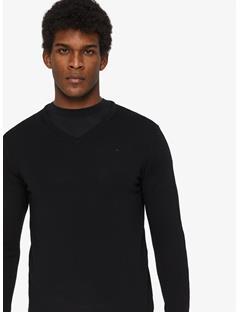 Mens Newman Perfect Merino V-neck Sweater Black