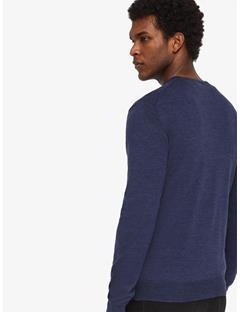 Mens Newman Perfect Merino V-neck Sweater Mid Blue