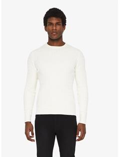 Carl Cable Cotton Sweater Whisper White