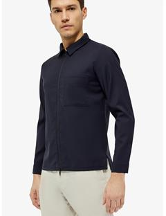 Jason Zip Comfort Wool Overshirt Navy